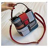 HLYMX Classic Plaid Stripe Bucket Schultertasche Pu-Leder getäfelte Handtasche Luxus-Einkaufstasche...