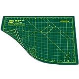 Estera de corte de doble cara Ansio con 5 capas y guías para cortar en cm y pulgadas, en tamaño A4 (21 x 29 cm / 8 x 11 pulgadas), verde