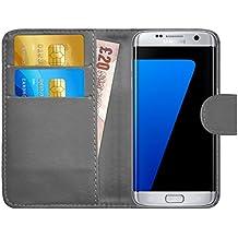 GizzmoHeaven Samsung Galaxy S7 Edge Étui en cuir porte-carte housse coque case cover pour Samsung Galaxy S7 Edge SM-G935F avec protecteur d'écran et stylet - Gris