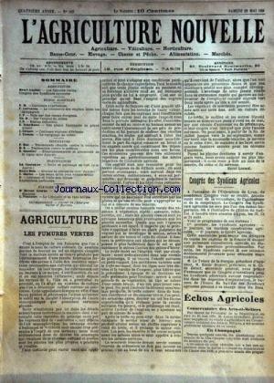 AGRICULTURE NOUVELLE (L') [No 162] du 26/05/1894 - AGRICULTURE PAR CARRE - LOUBIE -TROUDE - LARVARON - SCHRIBAUX - GIRAULT - VITICULTURE PAR HOC - SOULIERE - HORTICULTURE PAR COUTURIER - BLIN ET MOTTET - ELEVAGE PAR GEORGE ET FONTAINE