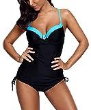 Charmley Femme Tankini Noir à Bretelle Rembourré Col-V Amincissant à Dos Nu Maillot de Bain avec Culotte Élégant Push-Up Grande Taille Beachwear