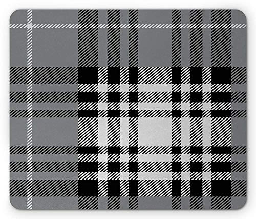 WYICPLO Checkered Mouse Pad, Old Fashioned Plaid Tartan in Dark Colors Classic English Tile Symmetrical, Standard Size Rectangle Non-Slip Rubber Mousepad, Grey Black White -
