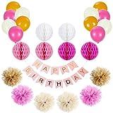 Lictin Geburtstag Party Deko Set Banner Girlande Tissue Papier Pom Poms Luftballons ( weiß, rosa, golden) Bunte Wabenbälle Dekorpapier Kit für Jeden Alters