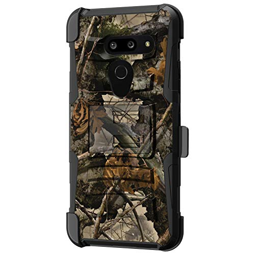 TurtleArmor Schutzhülle für LG G8 ThinQ / G820 [Hyperschock] Hybrid-Schutzhülle mit Gürtelclip und Ständer, Tree Leaves Camouflage