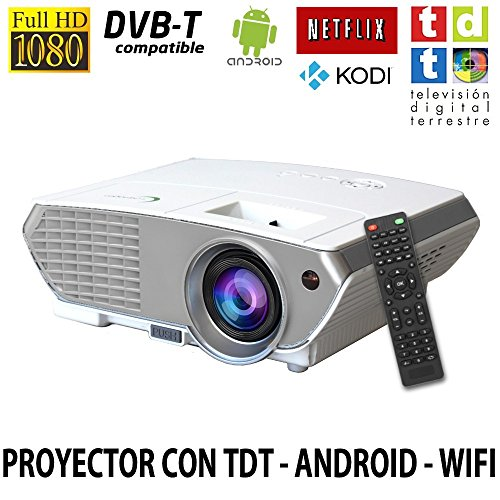 Proyector FULLHD modelo ( 2018 ) Luximagen SV350, Android, Wifi, TV TDT, AC3, LED, compatible con PS4, Switch, Xbox One (Con TDT, Wifi, color blanco)