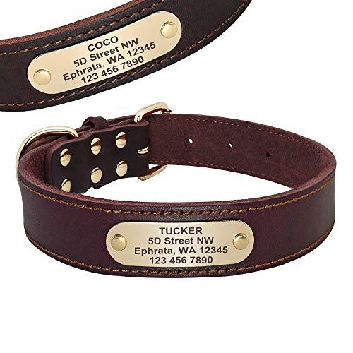 Beirui Cuir véritable Chien personnalisé avec Plaque Nominative ID Tags sur Mesure - Colliers pour Chien gravé pour Medium Chiens de Grande Taille Riches,Marron Riche,M(Neck 17-22.5')