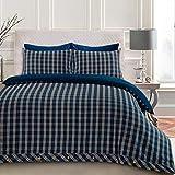 Cuadros de sarga de cuadros escoceses 100% algodón cepillado juego de funda nórdica Reversible de franela nueva caliente suave de lujo decorativo dormitorio único King doble, azul, matrimonio grande