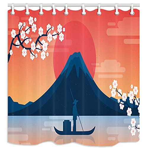 Kotom bagno giapponese tende da doccia, una barca sul fiume con fuji mountain dipinto a mano bagno cortina tessuto impermeabile in poliestere resistente alla muffa tende accessori bagno 69x70 pollici