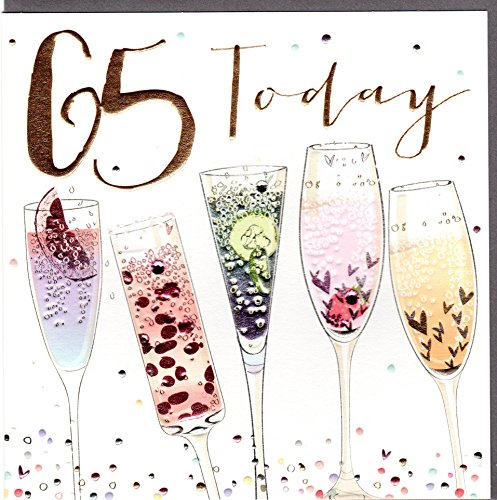 Belly Button Designs Paloma bezaubernde Glückwunschkarte zum runden 65. Geburtstag mit Prägung, Folie und Kristallen BB413