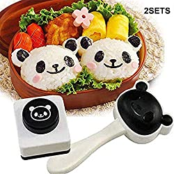 Hebudy Bento Accessories - Set di 2 stampi per sushi a forma di panda, kit di decorazioni fai da te per bambini