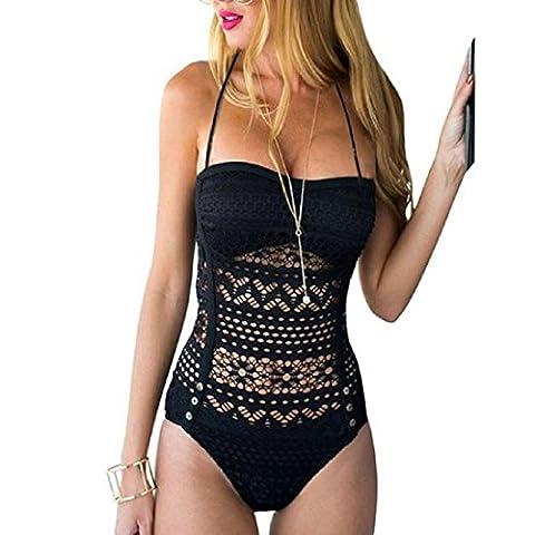 Internet Sexy Women One Piece Swimsuit Swimwear Bathing Push Up Padded Bikini (M, Black)