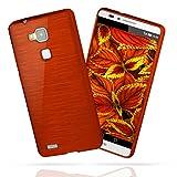 moex Huawei Mate 7 | Hülle Silikon Rot Brushed Back-Cover TPU Schutzhülle Ultra-Slim Handyhülle für Huawei Ascend Mate 7 Case Dünn Silikonhülle Rückseite Tasche