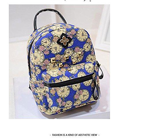 Gaorui zaino zainetto donna ragazza borsa tela bag stampa orologio vintage backpack Rosso