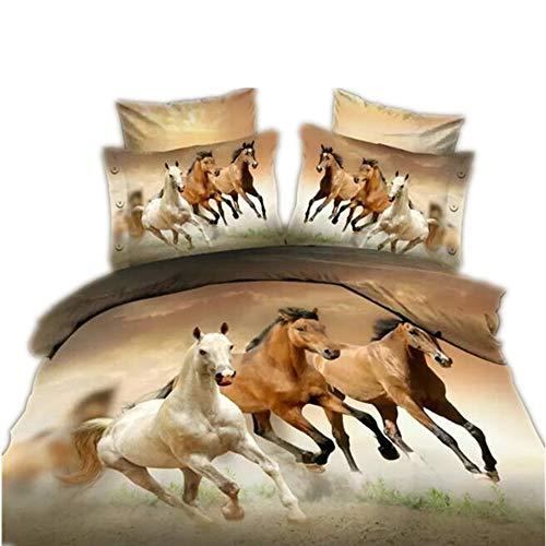 CHAOSE Juego de Sábanas Serie de Animales Lobo Funda Nórdica de Algodón y poliéster 3 Piezas (1 Funda Nórdica + 2 Funda de Almohada 48x74cm) (Caballo, (220 x 240cm+2/74x48cm) - Cama de 150/160)