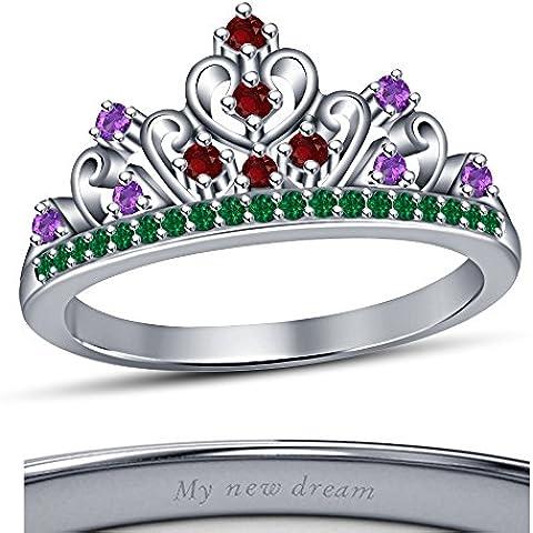 Vorra Multi-Rd, colore: bianco pietra, placcata platino, in argento 925, motivo: corona da principessa Disney Ariel-Anello