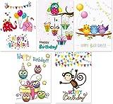 15 Geburtstagskarten für Kinder, 5 Motive mit jeweils 3 Postkarten, Kinderpostkarten-Set, Kindergeburtstag