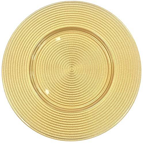 Große Servierplatte aus Glas mit Ornament-Teller gold 33cm Kreise -