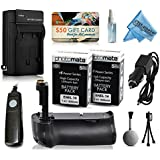 Multi Power Battery Grip + (2 Pack) Ultra High Capacity EN-EL14 ENEL14 Replacement Battery (1800mAh) + Replacement AC/DC Rapid Battery Charger With Car & European Adapter + Shutter Release Remote Control For Prints + Lens Cleaning Kit For Nikon D3100