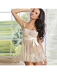 Pligh(TM) European And American Underwear Lace Summer Pajamas Female Temptation White Nightdress women night dress sleepwear EYD70225