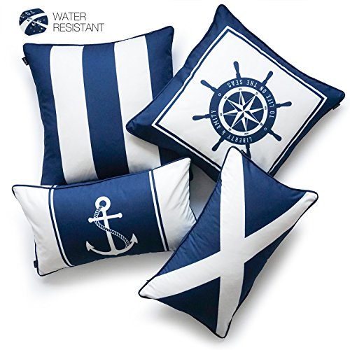 Hofdeco décoratifs Housse de coussin d'extérieur résistant à l'eau sur toile nautique Bleu marine Bateau de roue Drapeau Ancre Rayures 45cm x 45cm 30cm x 50cm Lot de 4