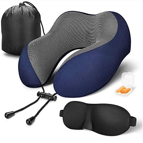 XIAOXIONG Reise-Kissen 100% Pure Memory Schaum Kissen Komfortabel Und Atmungsaktiv, Flugzeug Reise-Set Mit 3D Dunkelblau