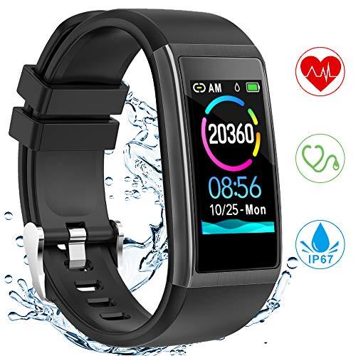 YONMIG Fitness Armband, Fitness Tracker mit Pulsmesser Blutdruckmessung, 1.14 Zoll Farbbildschirm IP67 Wasserdicht Smartwatch Schrittzähler Uhr Smart Watch Android iOS Damen Herren Kinder