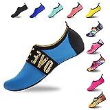 HMIYA Badeschuhe Strandschuhe Wasserschuhe Aquaschuhe Schwimmschuhe Surfschuhe Barfuß Schuhe für Damen Herren(Blau06,39)