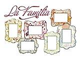 GRAZDesign 721445_57 Wandsticker Fotorahmen Bilderrahmen Schrift La Familia Deko für Wohnzimmer (82x57cm)