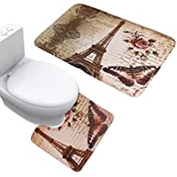 UOMERE 2 Piece New Anti Skid Eiffel Tower Flannel Bathroom Mat Set(Bathroom Carpet + U-Shaped Contour Rug) by Uomere