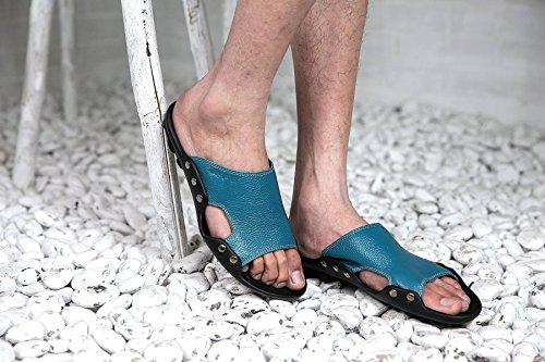 Lxxamens Été Plage Mâle Pantoufle En Cuir Véritable Sandales Chaussures De Randonnée Bleu