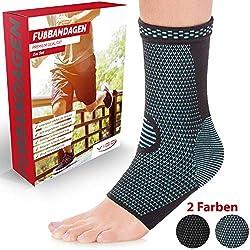 Vigo Sports® 7-Zonen Fußbandage (2 Stück) - Kompressionssocken für effektive Schmerzlinderung auch bei Fersensporn & Bänderriss - Sprunggelenk Bandage für Stabilität an Knöchel & Mittelfuß (M)