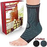 Vigo Sports® 7-Zonen Fußbandage (2 Stück) – Kompressionssocken für effektive Schmerzlinderung auch bei Fersensporn & Bänderriss – Sprunggelenk Bandage für Stabilität an Knöchel & Mittelfuß (XL)