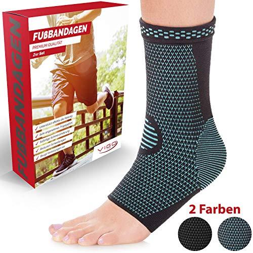 Vigo Sports® 7-Zonen Fußbandage (2 Stück) – Kompressionssocken für effektive Schmerzlinderung auch bei Fersensporn & Bänderriss – Sprunggelenk Bandage für Stabilität an Knöchel & Mittelfuß (L)