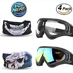 Idea Regalo - Goggles 2 Pack e Mask 2 Pack for Nerf Game Toy Maschere multiuso regolabili con maschere facciali per pistole Nerf N-Strike Elite Series Gommini e occhiali protettivi