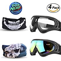 Goggles 2 Pack and Mask 2 Pack for Nerf Game Toy Adjustable Multi-purpose Masks with Face Masks for Nerf Guns N-Strike Elite Series Foam Gun Goggles&Eye Shield