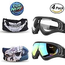 Goggles 2 Pack e Mask 2 Pack for Nerf Game Toy Maschere multiuso regolabili con maschere facciali per pistole Nerf N-Strike Elite Series Gommini e occhiali protettivi