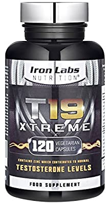 T19 Xtreme | Testosterone Booster for Muscle, Strength & Performance | 110% Guaranteed | 120 Vegetarian Capsules from Iron Labs Nutrition