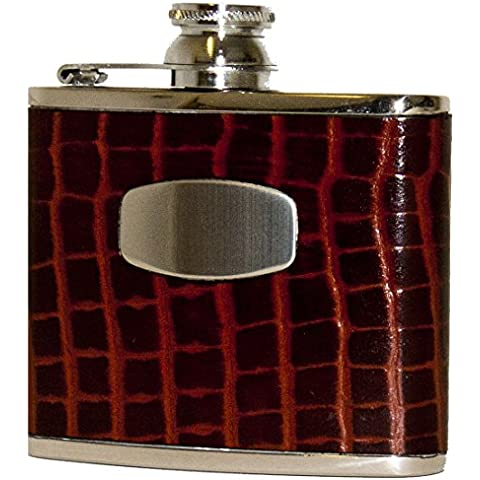 Bisley Hip Flask 4oz Brown Croc style leather stainless steel - Brown Flask