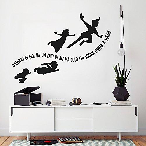 01423 adesivo murale wall art - aforisma peter pan e gli amici - misure 95x67 cm - nero - decorazione parete, adesivi per muro, carta da parati