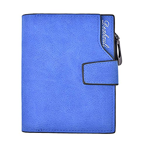 Tezoo Damen Geldbeutel, Tezoo Brieftasche aus hochwertigem Leder Multifunktion Große Kapazität mit Reißverschluss und Knopf Geld-Börse Mappe Geldtasche Portemonnaie Wallet 12,5 x 9,5 x 1,5 cm Blau