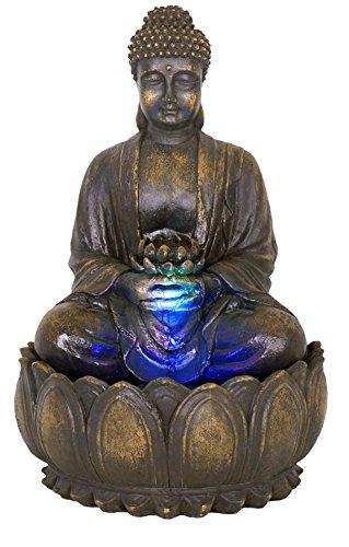 Brunnen und Mehr Beleuchteter Buddha-Brunnen mit Blüte