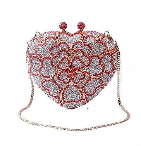 Mode Liebe Diamantbeutel-Abendbeutel Bankett Damen Minibeutel Hält Red