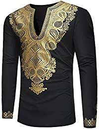 7fd20b0d66ec Youthny Chemise Homme Loisir Africain Slim Fit Manches Longues Col Mao  Casual Tee Shirt Imprimé Floral