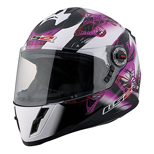 LS2 FF392 Junior Flutter Full Face Street Motorcycle Helmet (Pink/Black/White, Medium) by LS2 Helmets
