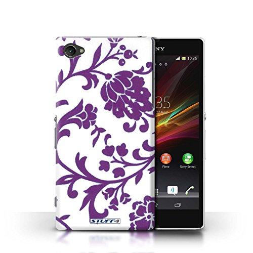 Kobalt® Imprimé Etui / Coque pour Sony Xperia Z1 Compact / Fleurs Rose conception / Série Motif floral Fleurs Pourpre