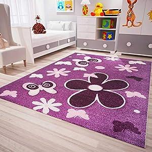 VIMODA Kinder Teppich Lila Blumen Sterne Schmetterling, Maße:80 x 150 cm