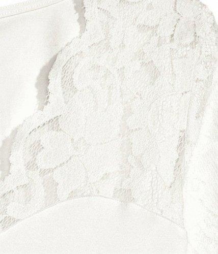 DJT Femme T-Shirt en dentelle Pull-over Col V Hauts Tops Manches longues Beige