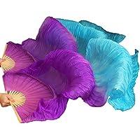 YI NA SHENG WU Abanicos de danza hechos a mano, ventiladores de danza del vientre de seda natural 1 pieza izquierda + derecha violeta + turquesa (180X90 cm)