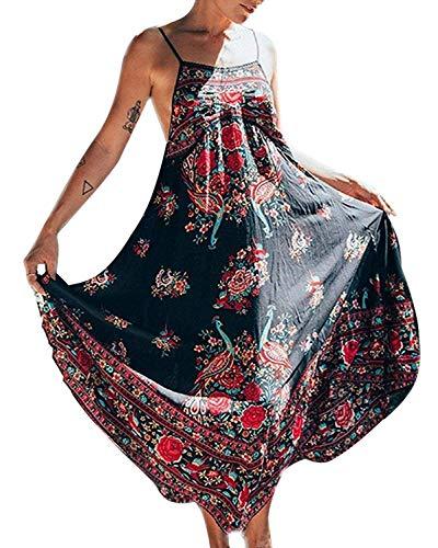 Minetom Femmes Eté Vintage Bohème Style Imprimé Floral Broderie sans Manches Dos Nu Maxi Robe Longue Plage Fête Long Dress (FR 46, Multicolore)