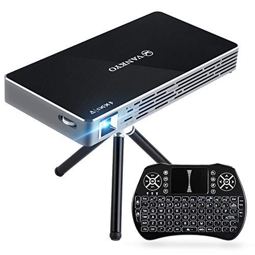 VANKYO Passport M50 DLP Mini Beamer 100ANSI Lumen, 120 Zoll Heimkino Beamer mit Android 7.1, 1080P Projektor unterstützt Dual WiFi, HDMI, mit Mini Wireless Tastatur, Stativ und Fernbedienung (Filme Ipad Herunterladen)